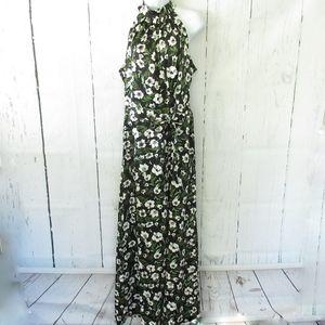 Bebe Maxi Dress Floral Halter Cut Out Belted